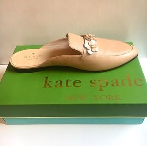 NWT Floral Mules - Tan Leather Slip On Flats
